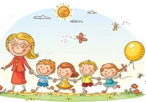 http://www.dreamstime.com/stock-photography-cartoon-kids-their-teacher-outdoors-walk-kindergarten-image50096302